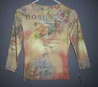 Susan Lawrence Floral Print roses Blouse Top Color Peach Size S