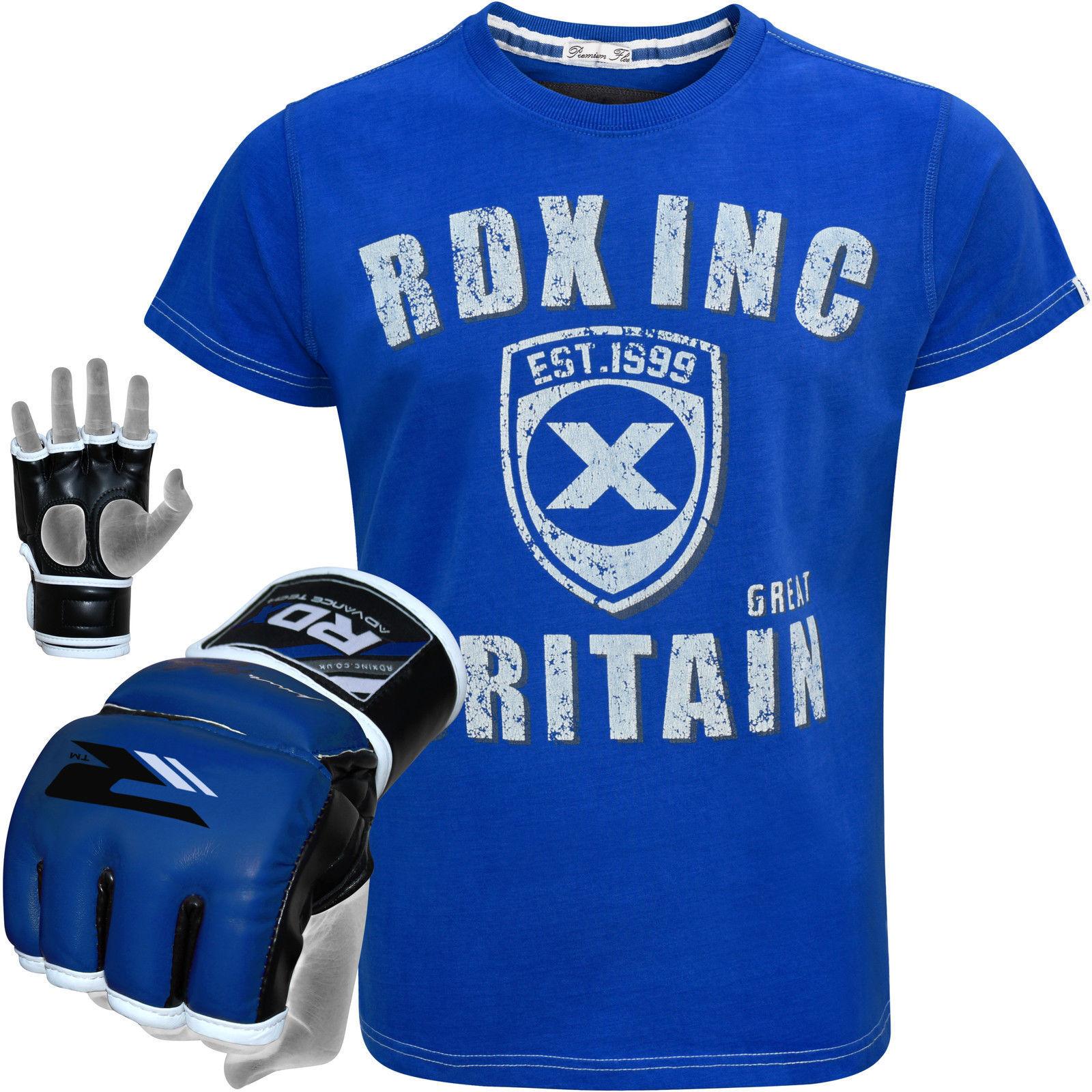 RDX MMA Grappling Guanti Boxe da Uomo T-shirt Girocollo Girocollo Girocollo Allenamento Muay Thai Boxe Fight 817bf5