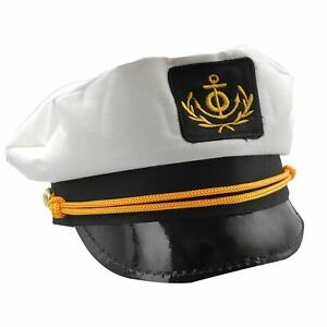 Adults Mens Ladies Sailor Skipper Ship Captain Hat Navy Fancy Dress ... 5db981ac087e