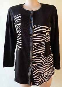 EVERSUN-New-Black-white-design-top-size-10-NWT-long-sleeves-button-through