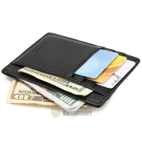 Men/'s Women/'s Leather Money Clip ID Credit Card Wallet Holder Slim Pocket Case