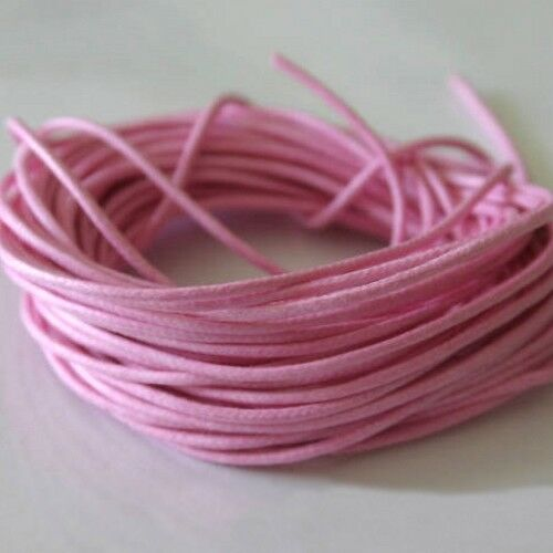 5 mètres de Fil Coton Ciré  Rose Buvard  0,7 mm