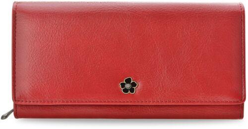 Klassische Damen Geldbörse Brieftasche Cavaldi mit Blume und Zirkon rot