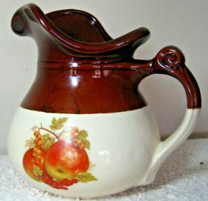 Vintage-1960s-McCOY-USA-Pottery-Pitcher-48-oz-Fruit-Festival-Pattern-7515-Brown