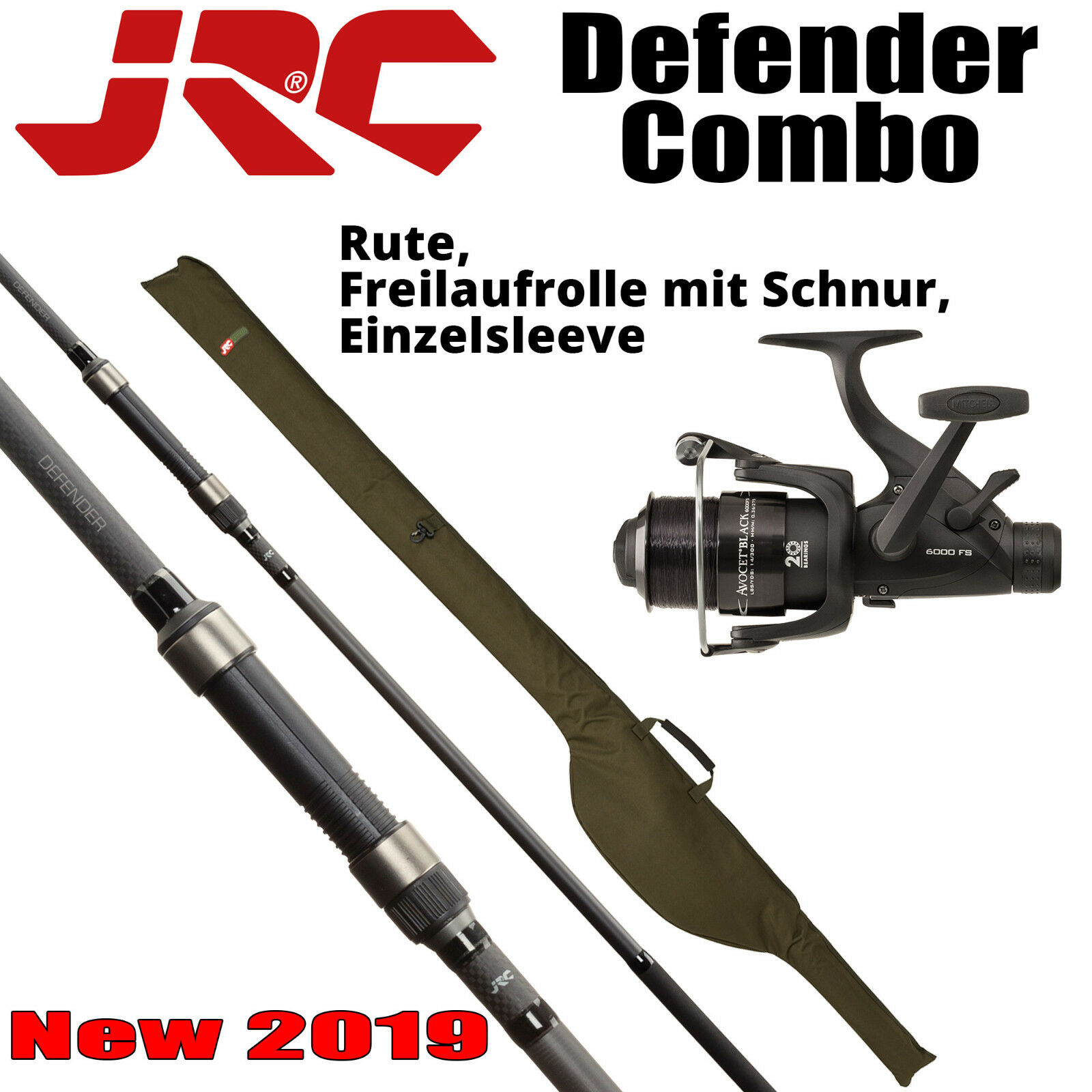 JRC Defender Combo 10ft. 3,00lb Rute/Freilaufrolle/Schnur/Sleeve - 1490565