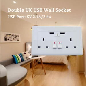 2-Way-UK-Mains-Power-Socket-With-USB-Charging-Ports-Connection-Wall-Plate-Plug