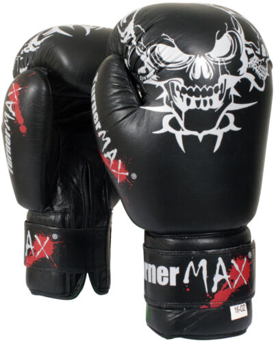 TurnerMAX Leather Professional Boxing Gloves Muay Thai Grappling Bag MMA Black