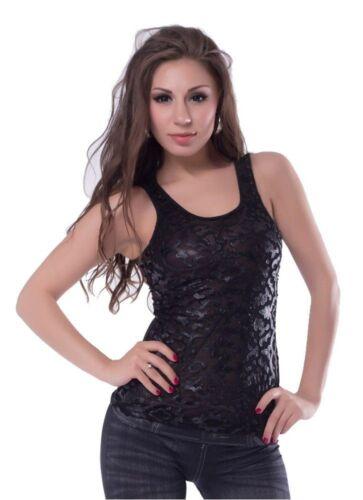 Lau-Fashion señora opaca t-shirt negra Tank Top con punta flores s//36