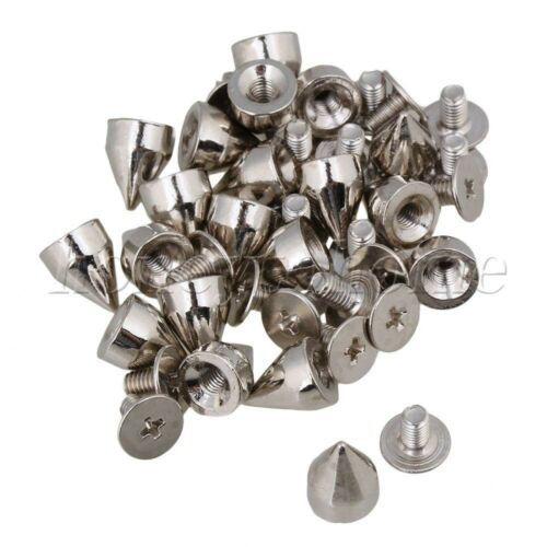 20pc Silver Metal Cone Studs Decoration DIY Bags Leather Bracelets Clothes Shoes