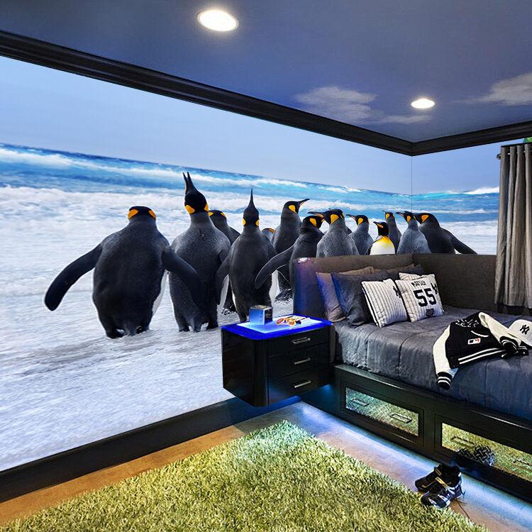 3D Seaside Penguins 94 WallPaper Murals Wall Print Decal Wall Deco AJ WALLPAPER