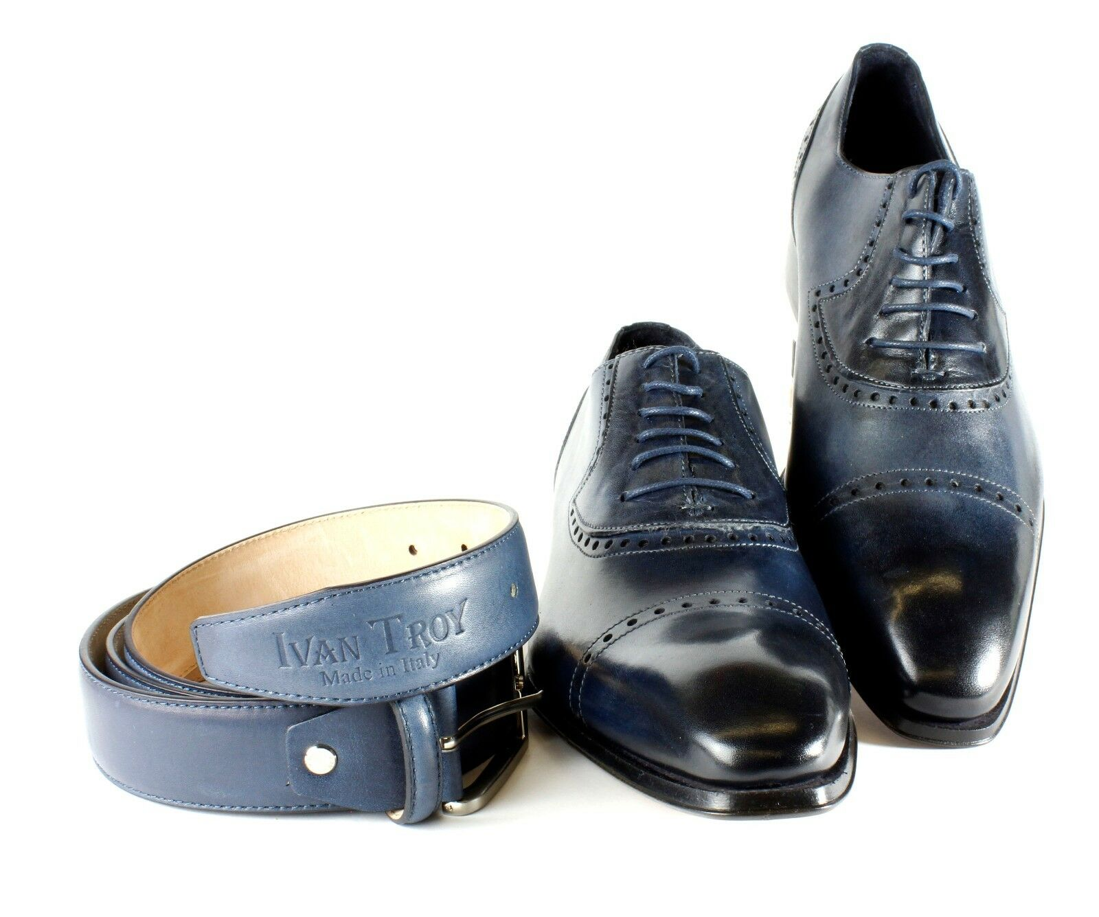 Ivan Troy Leather Blue Lamine Handmade Italian Leather Troy Dress Shoes/Oxford Shoes/MenShoes 54196c