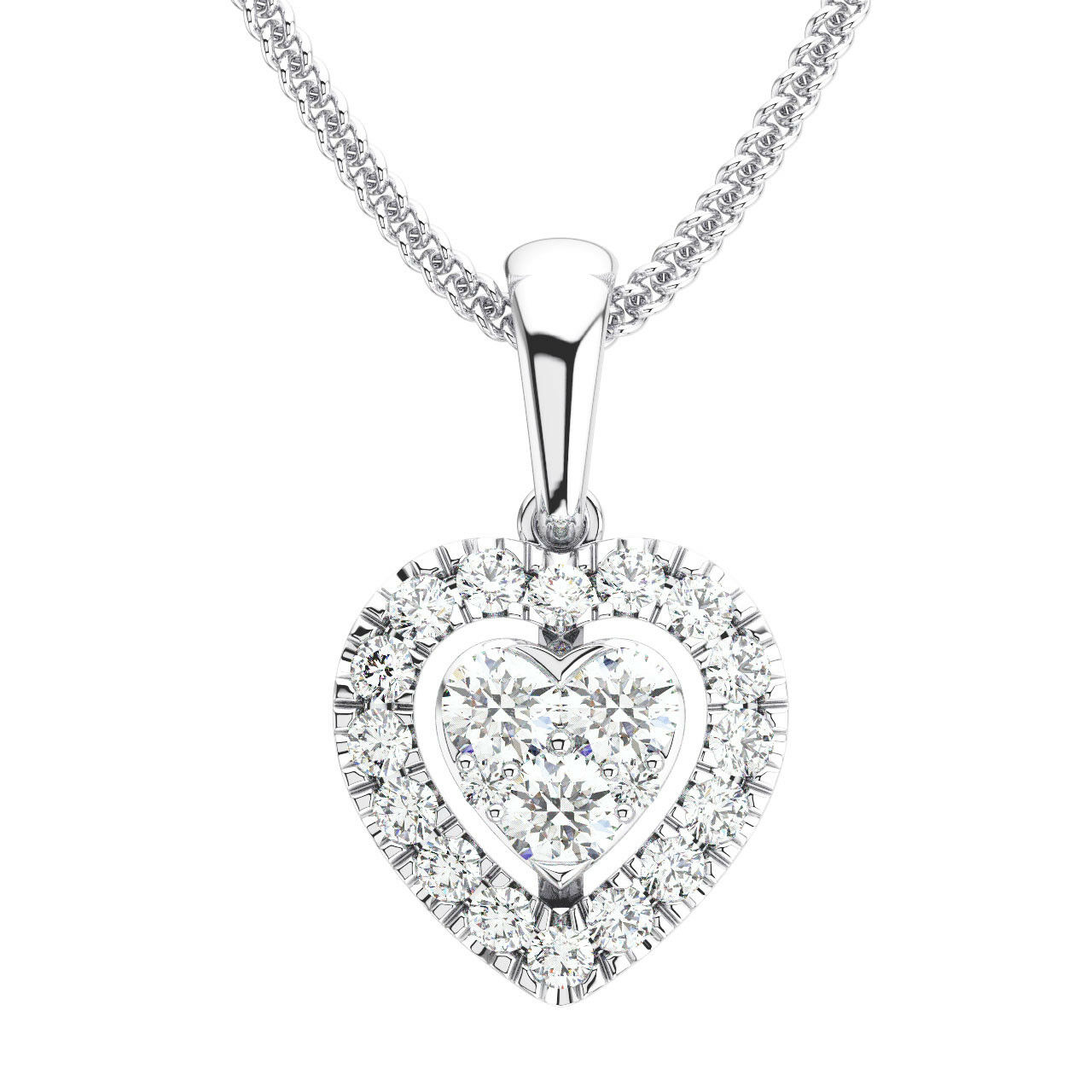 0.35 Carat Round Brilliant Cut Diamonds Pendant in Metal Platinum