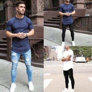 Mens-Ripped-Slim-Skinny-Stretch-Denim-Jeans-Pants-Distressed-Frayed-Trousers