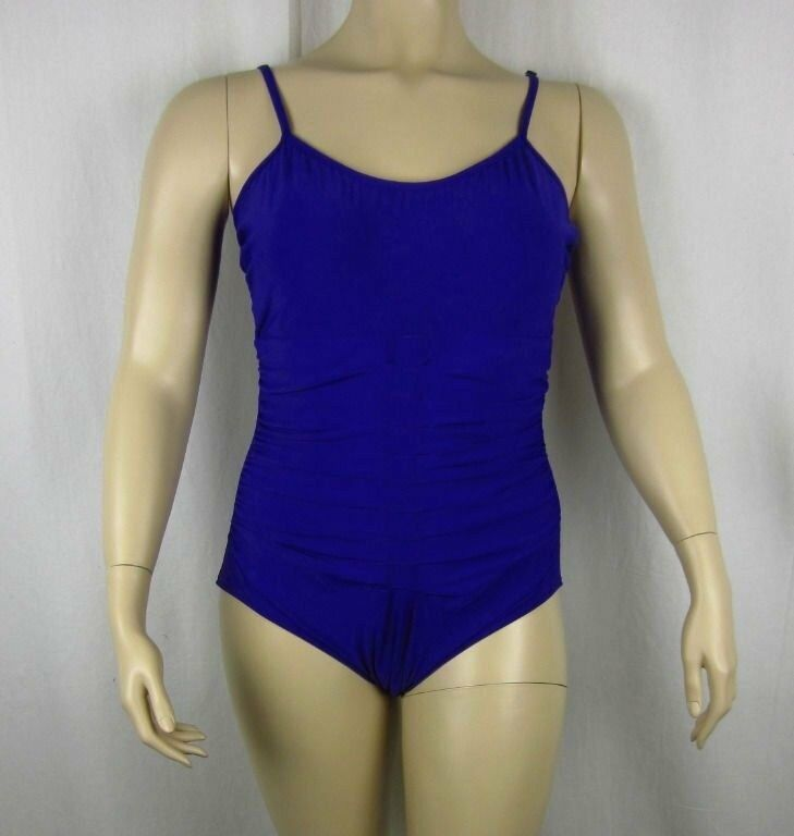 NWT INC International Concepts One Piece Swimsuit bluee Ruched Bathing Suit Sz 20