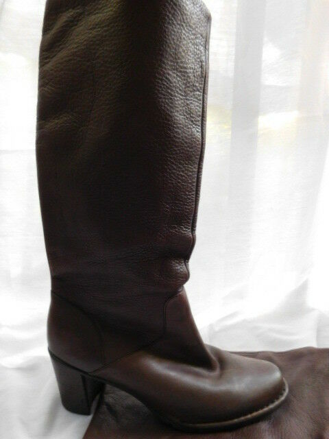 "INDIGO KNEE HIGH BOOTS brown pebbled LEATHER 2.5"" block heels shoes 8.5  9 M"