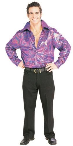 70/'s-80/'s Disco Shirt Multi Color Metallic Swirl Print Polyester Costume Shirt