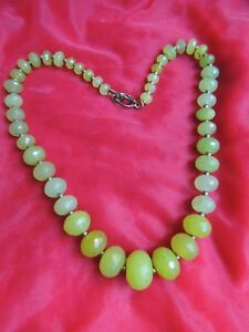 Faceted Vintage Green Stone Beaded Beads 1 Strand Necklace