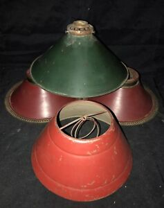 Vintage-Lot-4-Metal-Shades-Oil-Lamp-Shades-Electric-Lamp-Shades