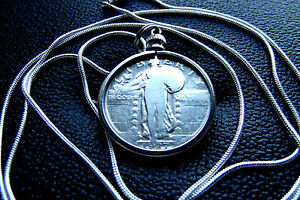 1916-1930-Standing-Liberty-Quarter-Pendant-on-a-30-034-925-Silver-Snake-Chain