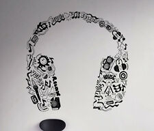 Headphones Wall Decal Music Earphones Vinyl Sticker Removable Art Decor 68(nse)