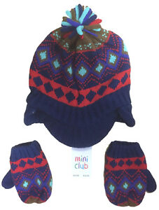 BOYS HAT MITTENS KNITTED 2PC SET FAIRISLE EX UK STORE 6M - 6Y RRP £10 BRAND NEW