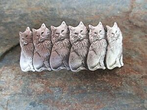 Cats-Silver-Plated-French-Clip-Hair-Barrette-Clip-made-in-USA-6031S