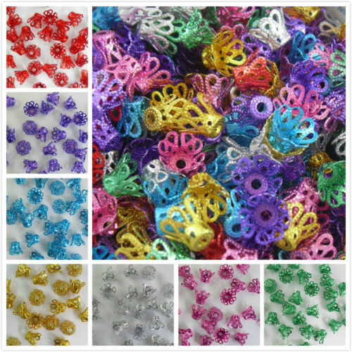 100//1000pcs Mixed Aluminum Crown Beads Caps Connector For Jewelry Making 6x9mm