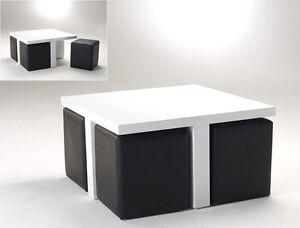 Couchtisch 80x46x80 hochglanz wei mit 4 hocker kunstleder for Design couchtisch deckplatte schwenkbar hochglanz weiss quadrat tisch