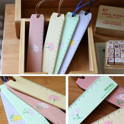 FD2415 Honey Floral Flower Wooden Ruler Stationery Wood Ruler Scale Ruler ~1pc~\