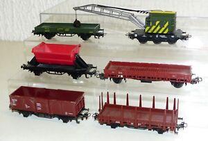 6x-Maerklin-Gueterwagen-Kranwagen-Rungenwagen-Kippwagen-Kranschutzwagen-H0
