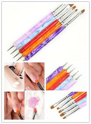 5pcs 2-Ways UV Acrylic Gel Nail Art Design Tips Dotting Painting Brush Pen set