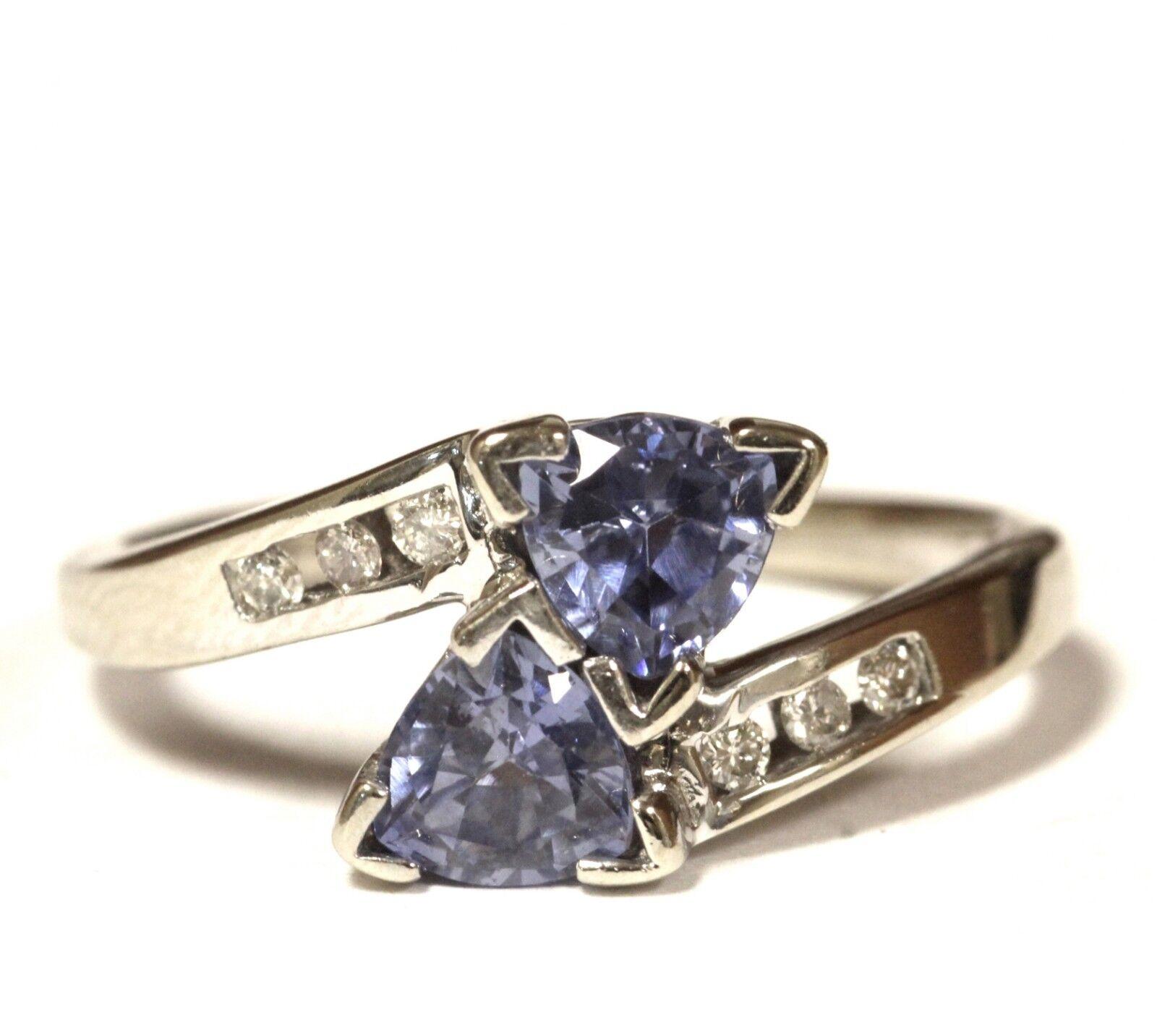 14k white gold .09ct SI1G diamond trillion Iolite ring 3g estate vintage womens
