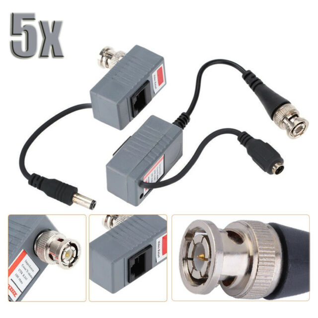 BNC Coax CCTV RJ45 Balun w//Audio Video Power Over Transceiver Cable 1 Pair WZS