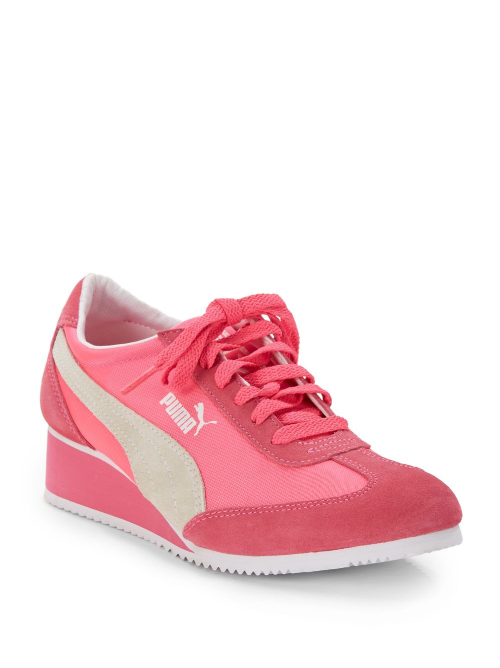 Puma Women's Caroline Wedge Fashion Sneaker Fluorescent Pink US 9.5 EUR 40.5