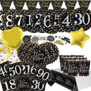 Black-Gold-Birthday-Party-Decorations-Plates-Cups-Napkins-Table-Cover-Hollywood