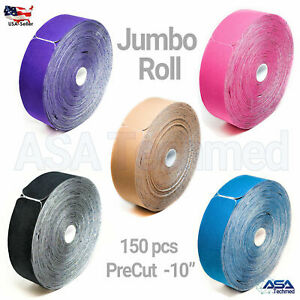 """ASATechmed TAPE PRO Synthetic Kinesiology Jumbo 150 PreCut 10"""" Strips All Colors"""