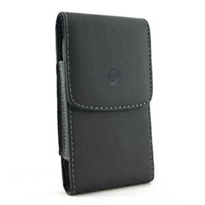 BLACK-LEATHER-CASE-SIDE-COVER-POUCH-BELT-HOLSTER-SWIVEL-CLIP-V9E-for-SMARTPHONES