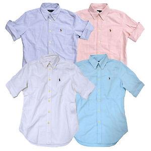 Ralph Lauren Womens Button Down Oxford Short Sleeve Shirt Pony ...