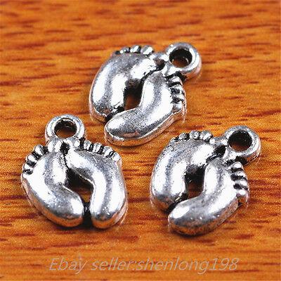 100pcs 13*10mm Charms Babies feet Pendant Diy Jewelry Making Tibetan Silver E223
