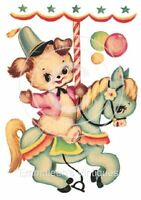 Vintage Image Shabby Nursery Puppy Dog Carnival Waterslide Decals An517