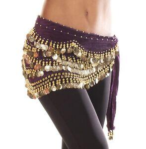 Velvet-Belly-Dance-Hip-Scarf-Coin-amp-Bead-Belt-Wrap-UK-Seller
