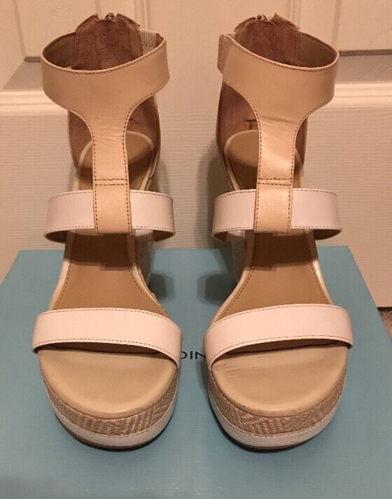 NIB ANTONIO MELANI CAM T-STRAP PLATFORM WEDGE LEATHER SANDALS WEISS/SAND 8 M
