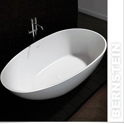 Freistehende Badewanne aus Mineralguss VELA STONE weiß - 180x90cm - Solid Stone