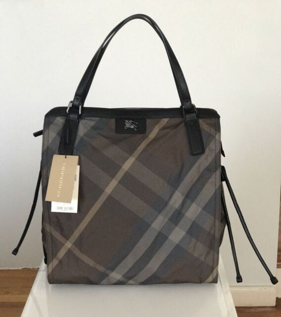 06a265730f91 Burberry Buckleigh Packable Tote Birch Grey Check Nylon Bag Purse