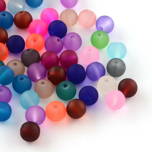 1 Sac Rond Transparent Verre Givré Perles Artisanat 8x7mm TROU 1 mm sur 100pcs