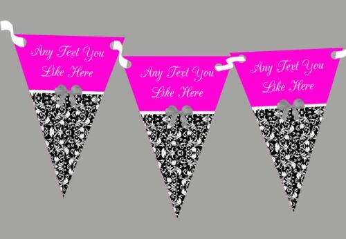 Hot Pink Damask Shabby Chic Vintage Personalised Wedding Bunting