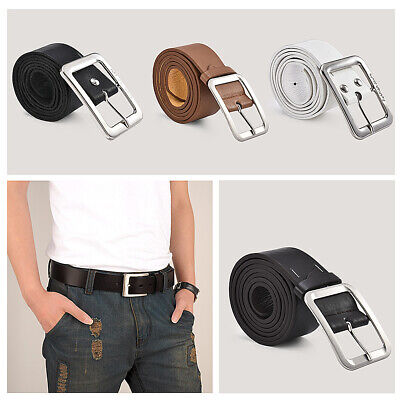 US Unisex Men/'s Leather Dress Belt Casual Pin Buckle Waist Strap Belts Waistband