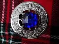Large Scottish Blue Stone 3 Kilt Brooch