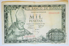 SPAIN: 1000 Pesetas banknote since 1965 in aFine Condition. RARE. E1603139