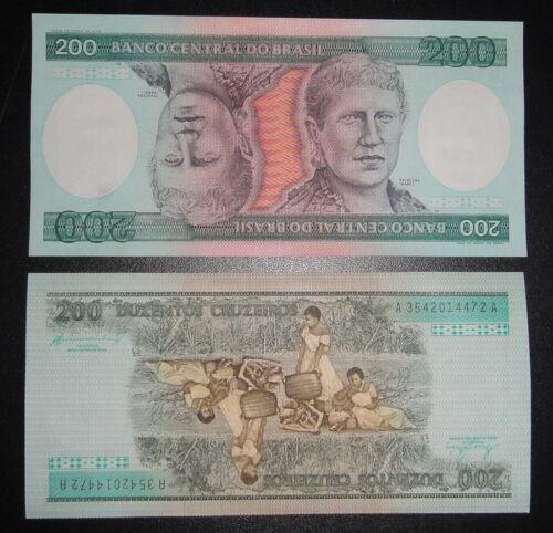 BRAZIL BRASIL Paper Money 200 Cruzeiros UNC inverse